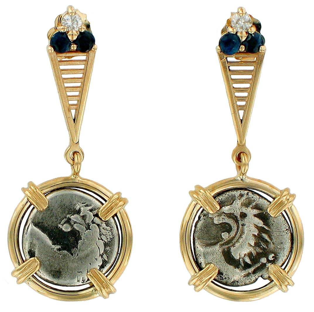 Lion of Thrace Coin Earrings