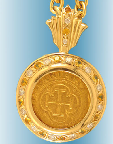 Gold Doubloon Coin Pendant